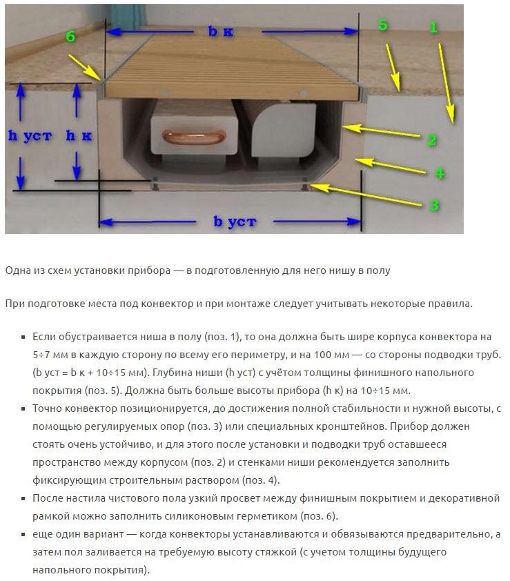 конвекторы отопления водяные встраиваемые в пол